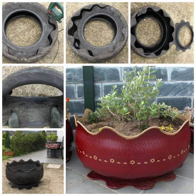35 Easy And Cheap DIY Garden Decors To Reuse Old Tires