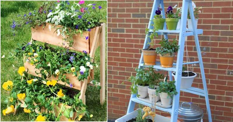 16 Inspiring Ideas For Vertical Ladder Planters