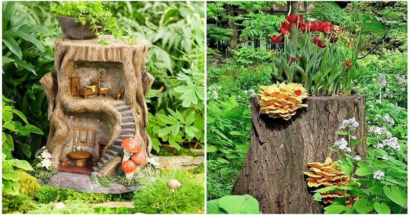 14 Fabulous Tree Stump Planter Ideas For Your Garden