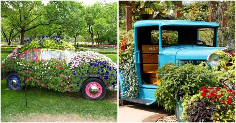 14 Awesome DIY Old Car Gardens