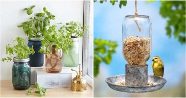 24 Clever Mason Jar Ideas For Your Garden