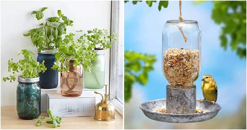 24 Clever Mason Jar Ideas For Your Garden