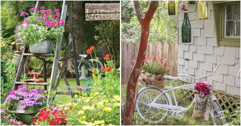 24 Flair and Vintage Ideas To Decor For Your Garden
