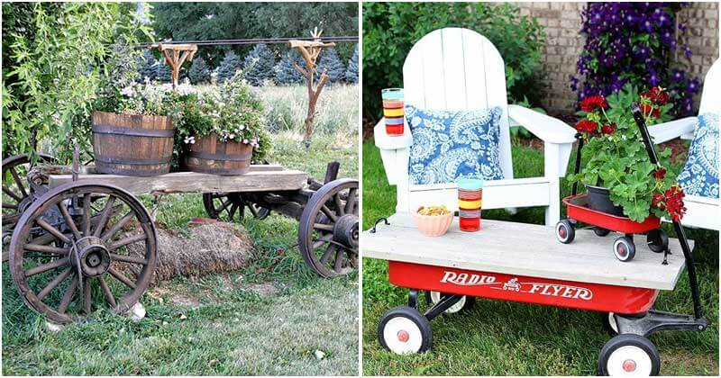 22 Astonishing Wagon Ideas For Your Country Garden