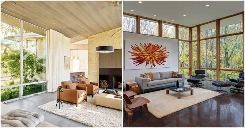Floor-To-Ceiling Windows Living Room Ideas To Get Nature Light