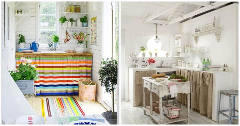 18 Impressive and Unique Kitchen Cabinet Curtain Ideas