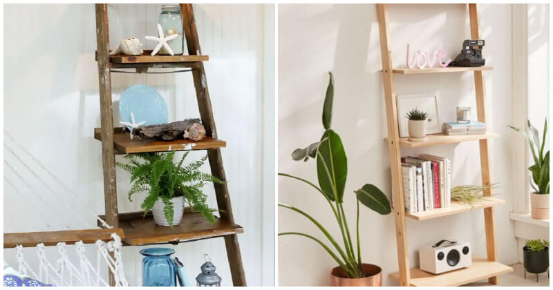20 Of The Best Useful DIY Ladder Shelf Ideas