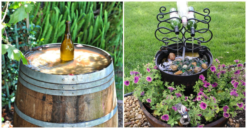 Unique Wine Bottle Water Fountain Ideas To Spruce Up Your Garden