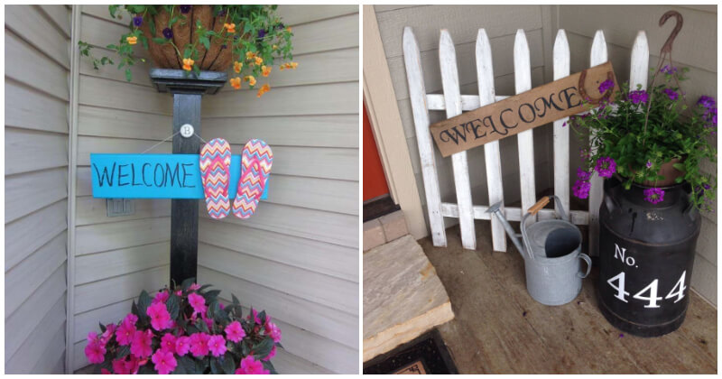 24 Lovely Welcome Sign Ideas For Your Front Porch