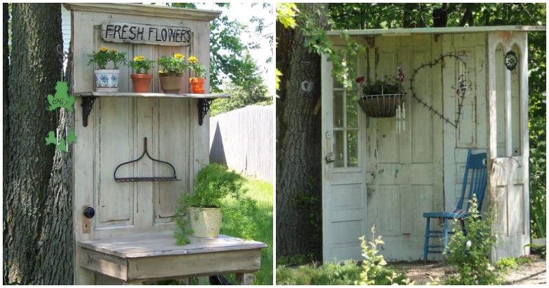 18 DIY Decorating Old Door Projects In The Garden