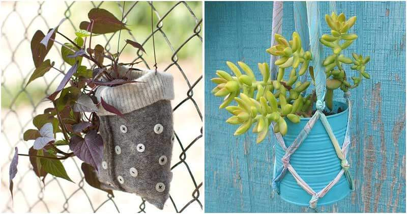 20 Fancy Recycled Hanging Planter Projects To Make At The Weekend